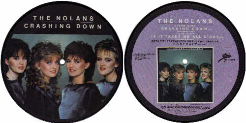 The Nolans - Crashing Down 7 inch vinyl Picture Disc Record.