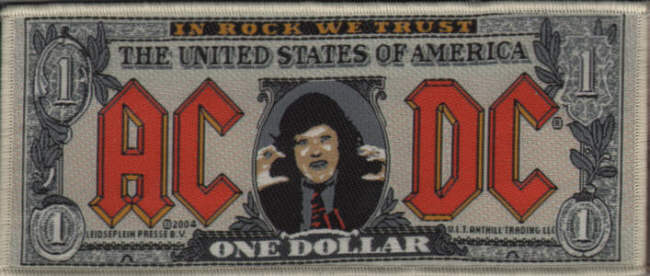 AC/DC AC DC - Dollar Bill officially licensed Woven Patch.